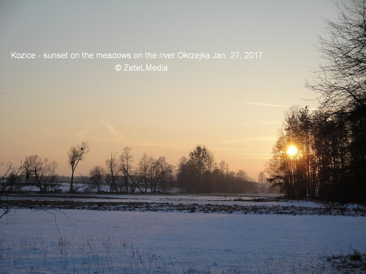 Kozice sunset on the meadows on river Okrzejka Jan 27 2017